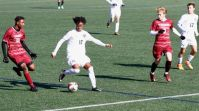 Prince Loney-Bailey '19 in action vs Loomis Chaffee School in recent soccer action (Photo provided).