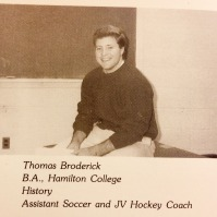 "Mr. Tom (""Brody"") Broderick in the 1988-89 Epitome during his first year of teaching at Nortwood School."