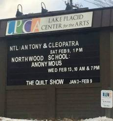 The Marquee at the Lake Placid Center for the Arts (Photo Chisondi Mzese).