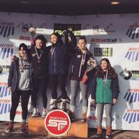 Jaden Klebba '22 (center), Audrey Higgins-Lopez '21 (second from left), Ava Day (second from right) and Gabby Cote '22 (right) on the podium at the 2019 NYS Girls' U16 State Championships (Photo: NYSEF)