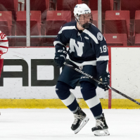 Ray Fust '21 in action against Stanstead College at the Olympic Center in October 2019 (Photo: Mr. Michael Aldridge).