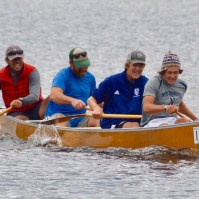 Mr. Nemec, Mr. Eaton, Lars Kroes '21 and Cisco DelliQuadri '20 at the 90-Miler Canoe race in September, 2019 (Photo provided).