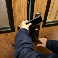The new fob keyless entry system for all of Northwood's exterior doors (Photo: Luke French '20).